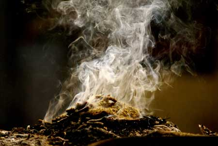 O que é defumação - Ato de queimar e liberar toda energia concentrada dos vegetais.